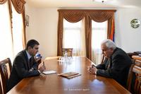 Պետնախարար Մարտիրոսյանն ընդունել է Հայաստանի ազգային պոլիտեխնիկական համալսարանի ռեկտոր Ոստանիկ Մարուխյանին
